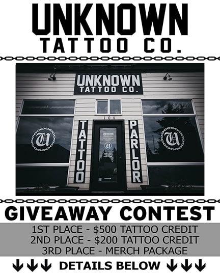 Free tattoo Instagram contest at Unknown Tattoo Co. in Everett Washington